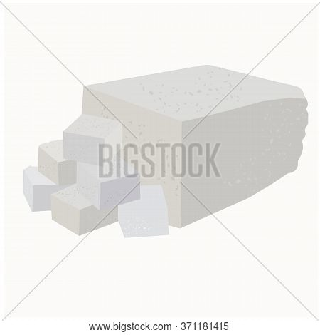 Vector Stock Illustration Close-up Of Soft Soy Tofu Cheese Cut Into Cubes, Cheese, Cottage Cheese, F