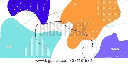 Bright Memphis Shapes. Hipster Geometric Illustration. Futuristic Liquid Backdrop. Blue Cool Collage