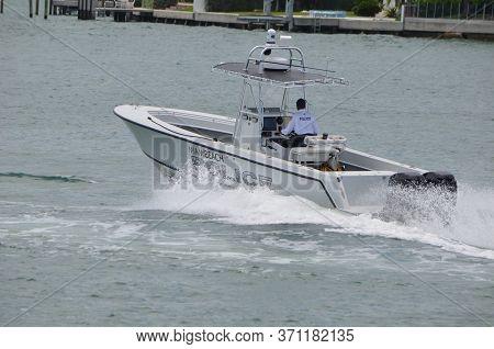 Miami Beach,florida,u.s.a. 12 June 2020. Miami Beach Police Boat Patrolling On Biscayne Bay Near Mia