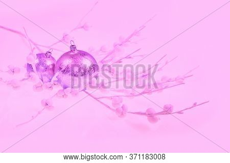 Christmas Decorations, Monochrome Color Image Toned Pink. Shiny Glass Baubles, On Neutral Winter Bac