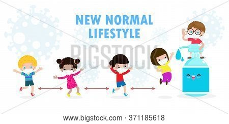 Back To School For New Normal Lifestyle Concept. Happy Students Cute Kids Wearing Face Mask And Alco