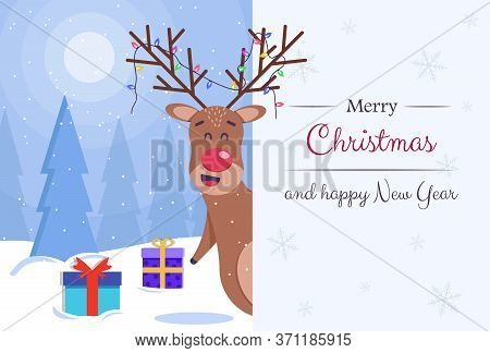 Merry christmas greeting card vector background. Merry christmas and happy new year. Cartoon fairy deer. Christmas greeting card.Merry christmas greeting card vector background. Merry christmas and happy new year