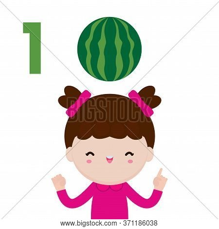 Happy Children Hand Showing The Number One, Cute Kids Showing Numbers 1 By Fingers. Little Child Stu