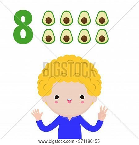Happy Children Hand Showing The Number Eight, Cute Kids Showing Numbers 8 By Fingers. Little Child S