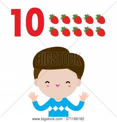 Happy Children Hand Showing The Number Ten, Cute Kids Showing Numbers 10 By Fingers. Little Child St