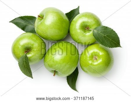 Granny Smith Apples With Leaves Isolated On White Background. Green Apple. Flat Lay. Top View