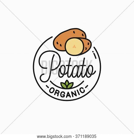 Potato Vegetable Logo. Round Linear Of Potatos