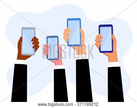 Hands Of Businessman Holding Smartphone  With Online News Content, Group Of People Sharing News,anno