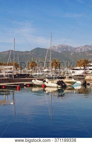 Yacht Marina. View Of Marina Of Porto Montenegro On Sunny Autumn Day.  Montenegro, Adriatic Sea, Tiv