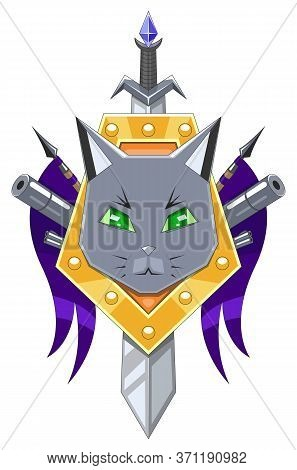 Robo-cat Coat Of Arms. Cat Head On Yellow Shield With Purple Flags And Guns. Vector Graphic.