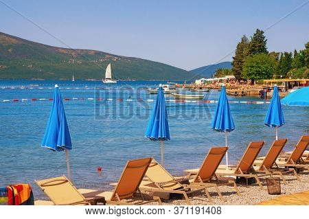Summer Beach Vacation. Beautiful Mediterranean Landscape On Sunny Summer Day.  Montenegro,  Adriatic