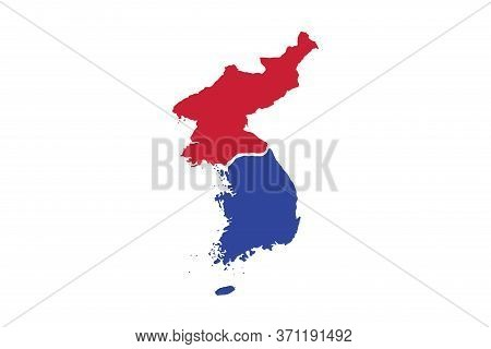 North And South Korea Map In Red And Blue On White Background,illustration,textured , Symbols Of Nor