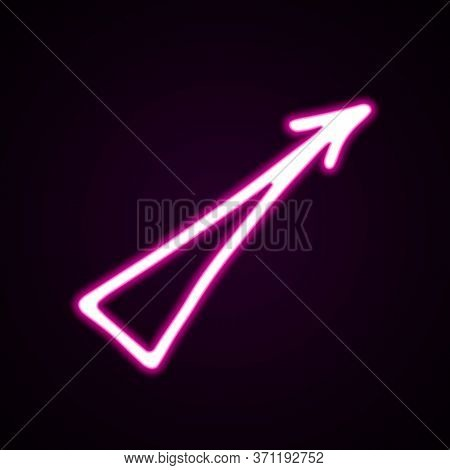 Neon Pink Straight Arrow Vector Icon. Hand-drawn Vector Illustration Of A Pointer On Black Backgroun