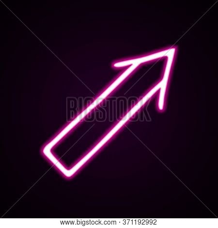 Neon Pink Wide Straight Arrow Vector Icon. Hand-drawn Vector Illustration Of A Pointer On Black Back