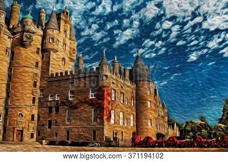 Facade Of Glamis Castle With Battlements And Pointed Turrets, Made In Red Sandstone Is The Epitome O