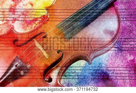 Vintage Violin Background. Melody Concept. Old Music Sheet In Colorful Watercolor Paint And Violin.