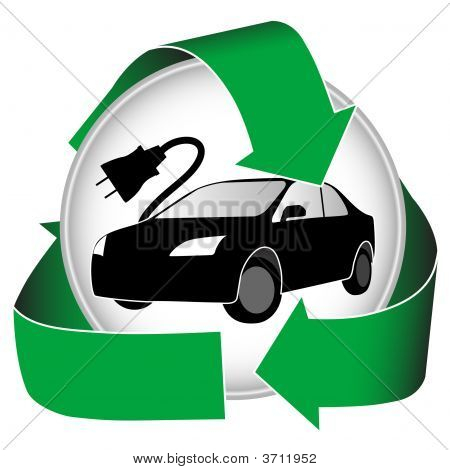 Hybrid logo features recycled green energy and an electric car. poster