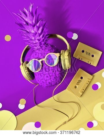 90s Nostalgy, Hipster Pineapple Character In Trendy Sunglasses And Earphones Listens To The Music. S
