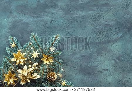 Christmas Or New Year Flat Lay Background On Textured Board With Text Space. Top View, Flat Layout,