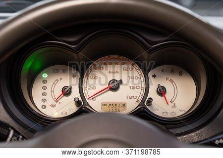 Novosibirsk/ Russia - June 03, 2020: Mitsubishi Colt, Car Panel, Digital Bright Speedometer, Odomete