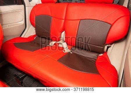 Novosibirsk/ Russia - June 03, 2020: Mitsubishi Colt, Comfort Car Inside. Clean Car Interior: Red Ba