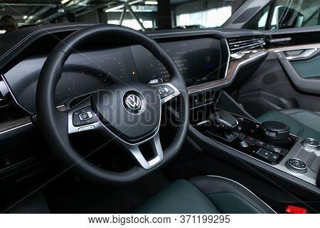 Novosibirsk/ Russia - March 15, 2020: Volkswagen Touareg, Prestige Car Interior With Dashboard, Stee
