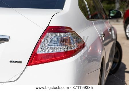 Novosibirsk/ Russia - May 22, 2020: Nissan Teana, Glowing Taillight Of A Modern Car Close-up