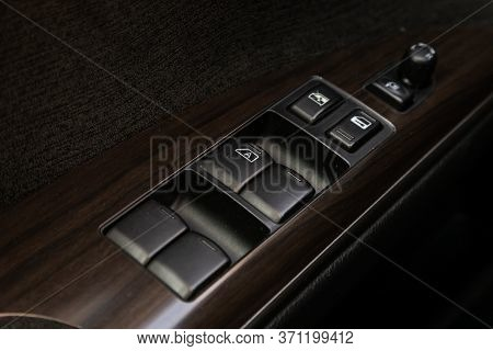 Novosibirsk/ Russia - May 22, 2020: Nissan Teana,  Close Up Of A Door Control Panel In A New Modern