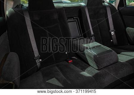 Novosibirsk/ Russia - May 22, 2020: Nissan Teana, Comfort Car Inside. Clean Car Interior: Black Back