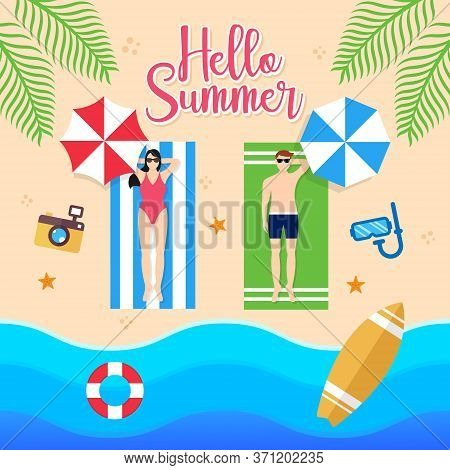 Summer. Summer vector. Summer holiday vector. Summer vector background. Summer vector illustration. Summer holiday design. Summer time. Summer Day vector. Summer Season vector illustration for banner, poster, invitation, party design template.