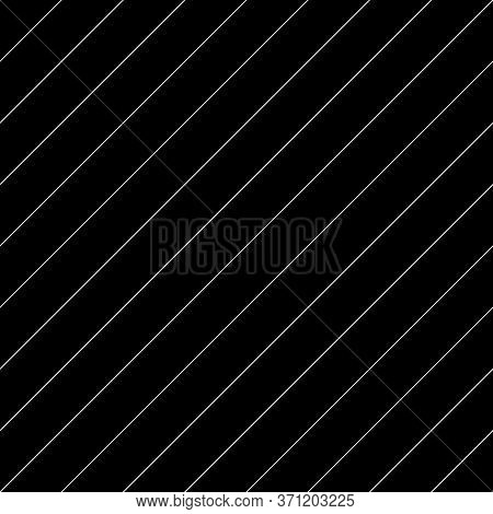 Diagonal Thin White Lines Abstract On Black Background. Seamless Surface Pattern Design With Linear