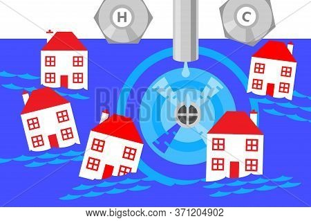 An Illustration Of A Sink Being Drained And Lots Of Small Houses Being Sucked In To The Vortex Creat