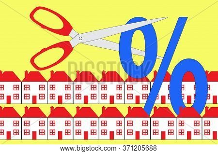 A Pair Of Scissors Cutting And Interest Rate Symbol With Rows Of Houses. An Illustration On Interest