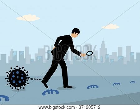A Businessman Following A Money Trail Of Euro Symbols While A Large Covid-19 Virus Is Attached To A