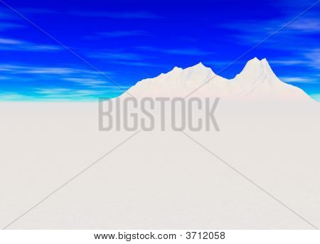 Snowy Landscape with Mountain in Far Distance on Horizon poster