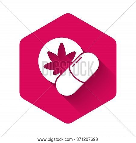 White Herbal Ecstasy Tablets Icon Isolated With Long Shadow. Pink Hexagon Button. Vector Illustratio