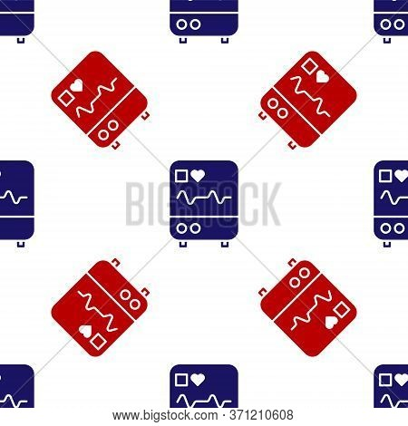 Blue And Red Computer Monitor With Cardiogram Icon Isolated Seamless Pattern On White Background. Mo