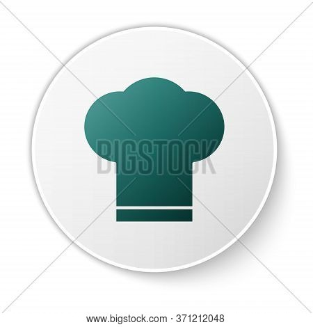 Green Chef Hat Icon Isolated On White Background. Cooking Symbol. Cooks Hat. White Circle Button. Ve