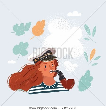 Vector Illustration Sailor Woman Wearing Sailor Hat.