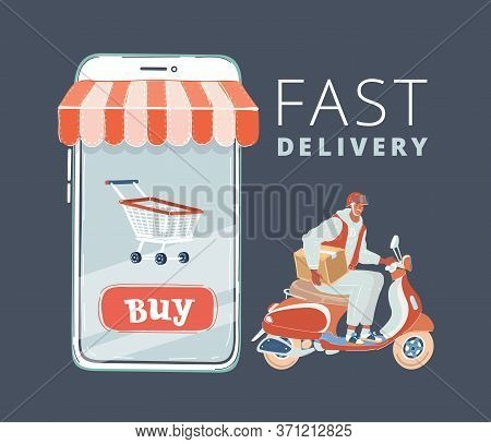 Vector Illustration Of E-commerce. Man Ride Scooter. Big Screen Of Smartphone