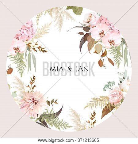 Luxurious Beige Trendy Vector Design Floral Frame. Pastel Pink Rose, Creamy Peony, Blush Hydrangea,