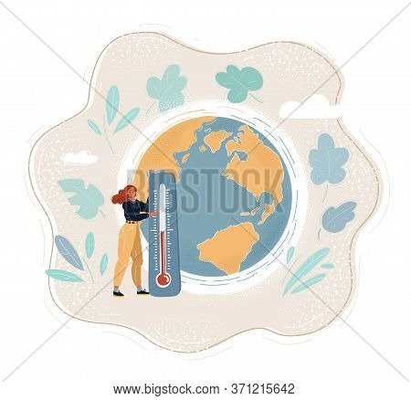 Vector Illustration Of Woman With Thermometer. Global Warming Concept