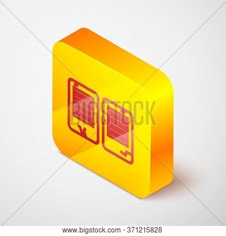 Isometric Line The Commandments Icon Isolated On Grey Background. Gods Law Concept. Yellow Square Bu