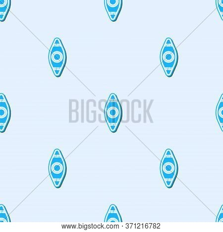 Blue Line Kayak And Paddle Icon Isolated Seamless Pattern On Grey Background. Kayak And Canoe For Fi