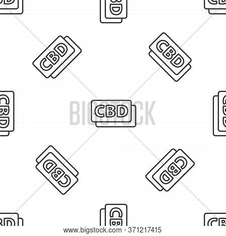 Grey Line Cannabis Molecule Icon Isolated Seamless Pattern On White Background. Cannabidiol Molecula