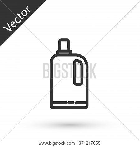 Grey Line Fabric Softener Icon Isolated On White Background. Liquid Laundry Detergent, Conditioner,