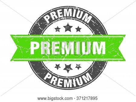 Premium Round Stamp With Green Ribbon. Premium