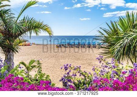 Landscape With Puerto Del Carmen Beach, Lanzarote, Canary Islands, Spain