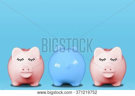 Stand Out From The Crowd Or Odd One Out Concept With Piggy Banks In A Row With Middle One In Blue An