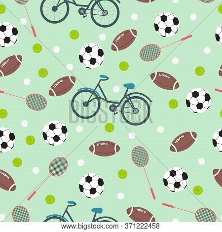 Different Sports Inventory On Turquoise Background, Vector Seamless Pattern In Flat Style. Creative